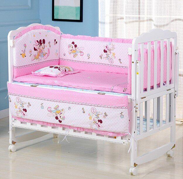 AliExpress Parure de lit en coton pour bébé, ensemble de literie comprenant 4 pare-chocs, matelas et oreiller,