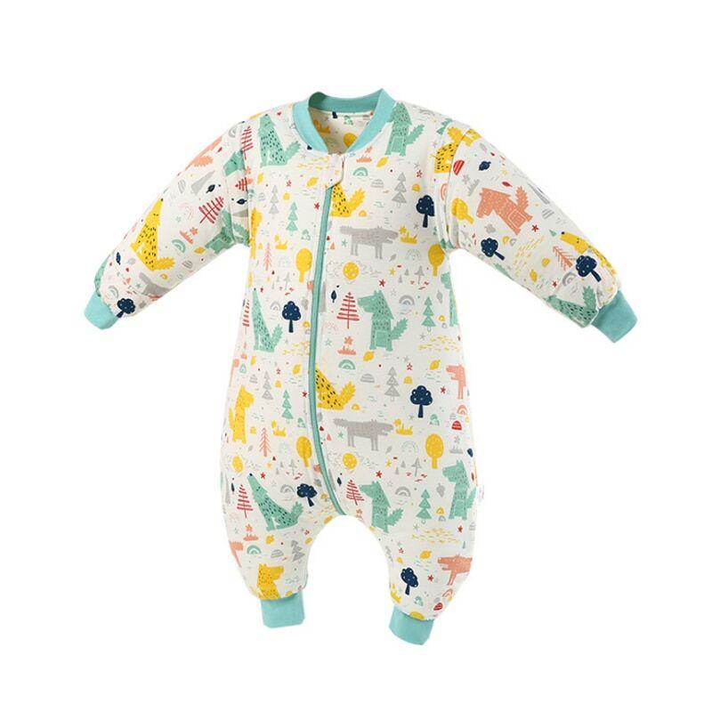 Happy Flute – sac de couchage 100% coton pour bébé, manches longues, dessin animé, jambe fendue,