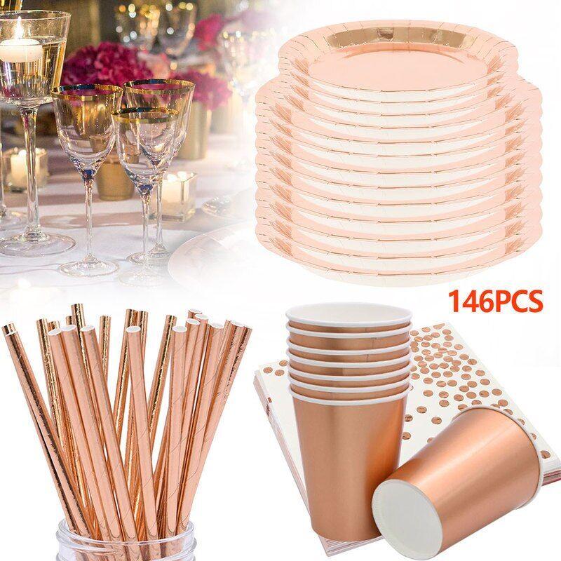 AliExpress Fournitures de Table de fête, 146 pièces, Rose or Festival, gobelets, assiettes, pailles, ensemble