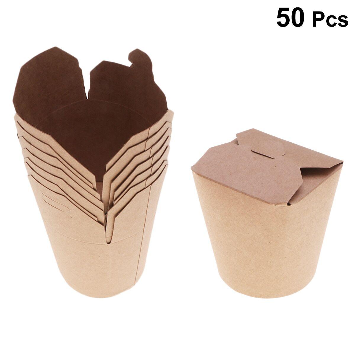 deli Boîte à Bento jetable en papier Kraft de 16 onces, seau de récipient à emporter pour la préparation