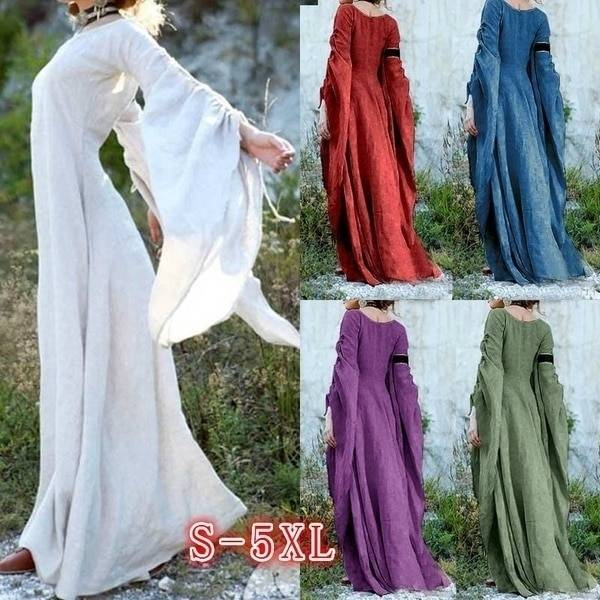 AliExpress Robe gothique à manches longues pour femmes, vêtement style Renaissance, longueur au sol, Chemise,