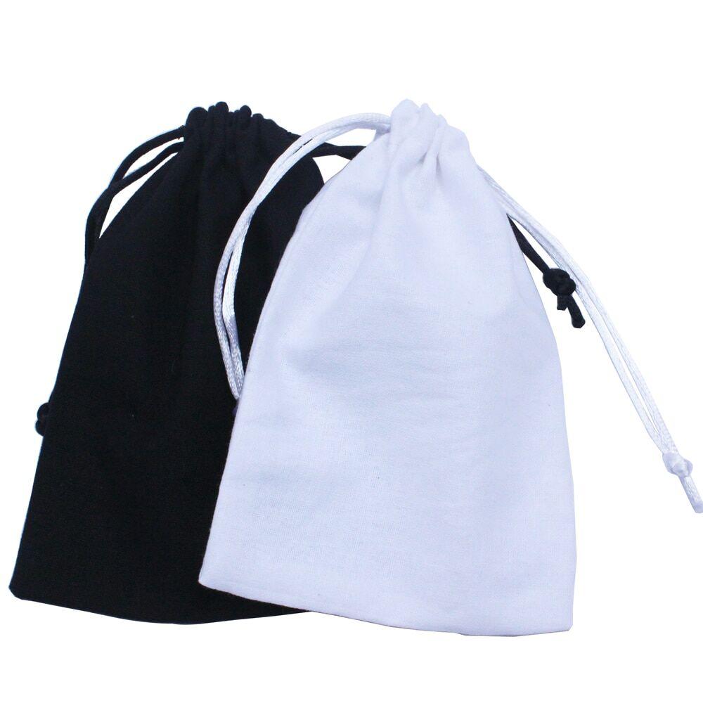 AliExpress Sac à cordon en coton noir recyclable, pochette anti-poussière en coton blanc, cadeau, taille et