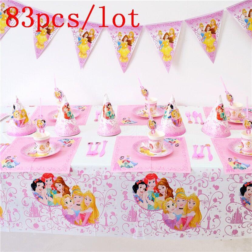 AliExpress Tasse à thème Disney Six princesses, 83 pièces, avec assiette et nappe de serviette, sac cadeau pour