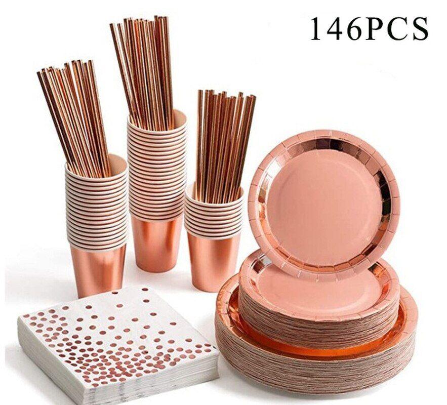 AliExpress Vaisselle jetable de fête, 146 pièces, couleur Champagne Rose, tasse, assiette, pailles, décor