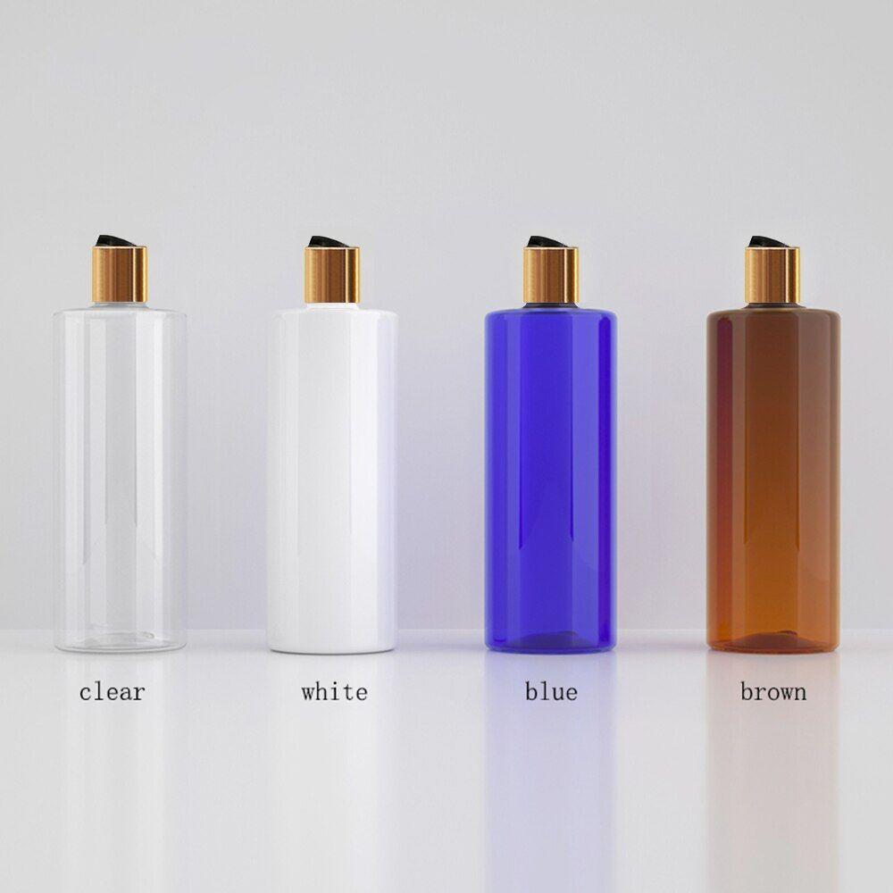 AliExpress Bouteille vide en plastique avec capuchon supérieur en disque or, bouteille d'huile essentielle en