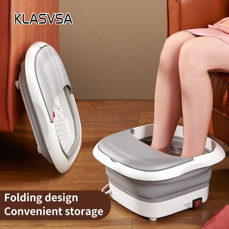 AliExpress KLASVSA – masseur de bain de pieds pliable, avec bulles, chauffage à infrarouge, roues de Massage,