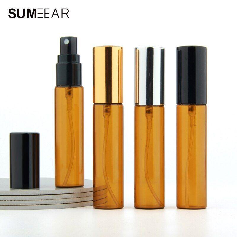 AliExpress Bouteille avec atomiseur vide en verre ambre avec capuchon en aluminium, rechargeable, bouteille de