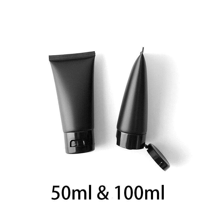 AliExpress Bouteille à presser en plastique noir mat 50ml 100ml, récipient cosmétique vide, maquillage, Lotion