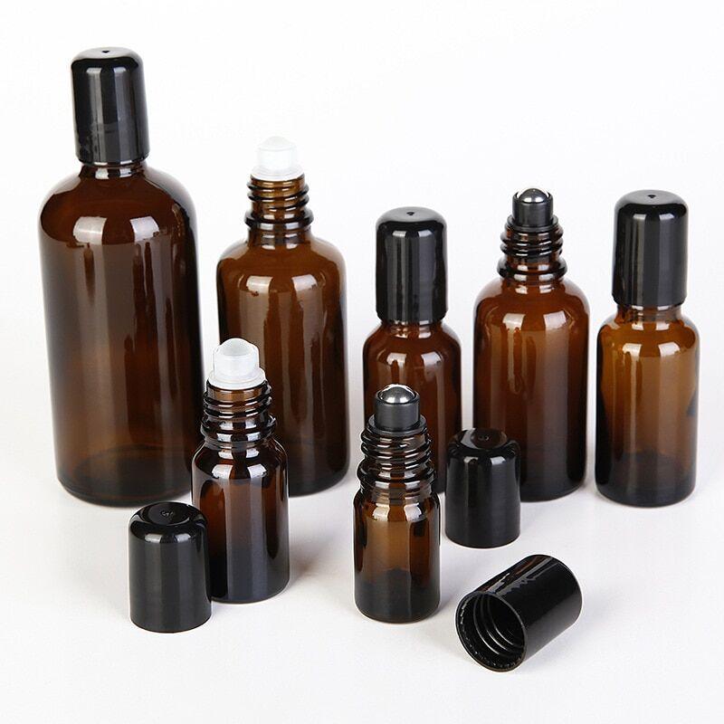 AliExpress Bouteille d'huile essentielle vide en verre avec rouleau en métal noir, 12 pièces/lot, 5ml, 10ml,