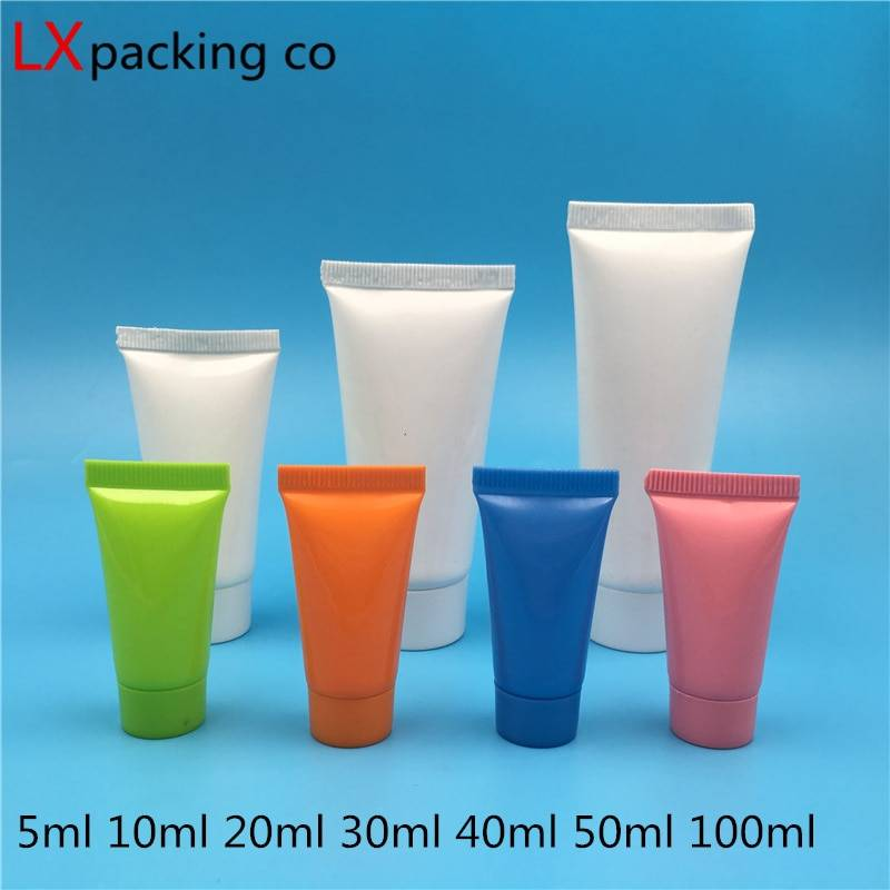 AliExpress Tubes en plastique blanc, rose, bleu, 10ML, 30ML, 50ML, 100 pièces, échantillon de shampoing,