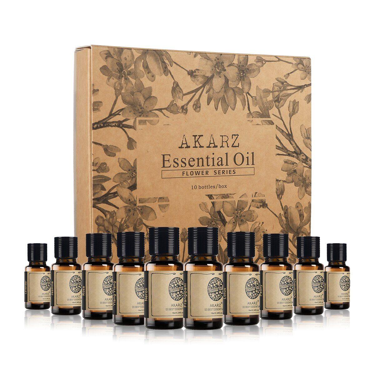AliExpress AKARZ – lot de 10 huiles essentielles, série fleur, lavande, jasmin, Rose, Ylang, Neroli,