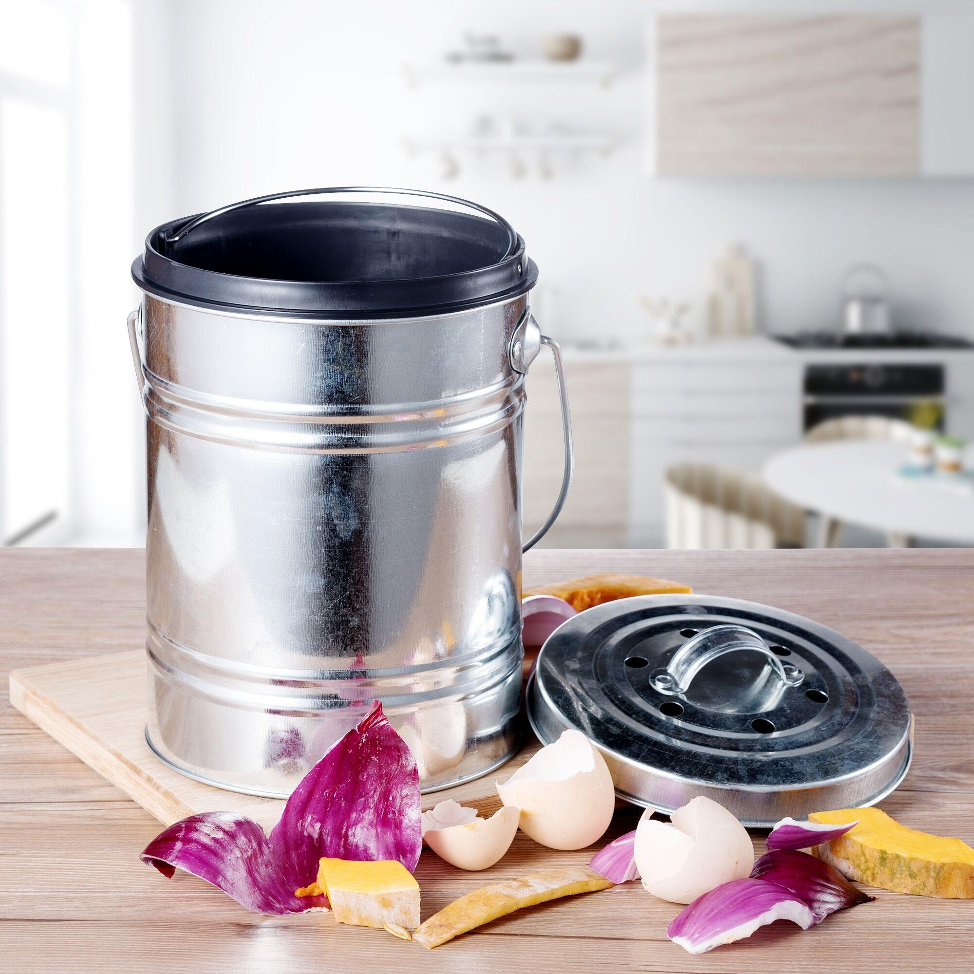 AliExpress Bac à composter 3L en acier inoxydable, pour résidus de légumes, usage domestique, Durable, cuisine,