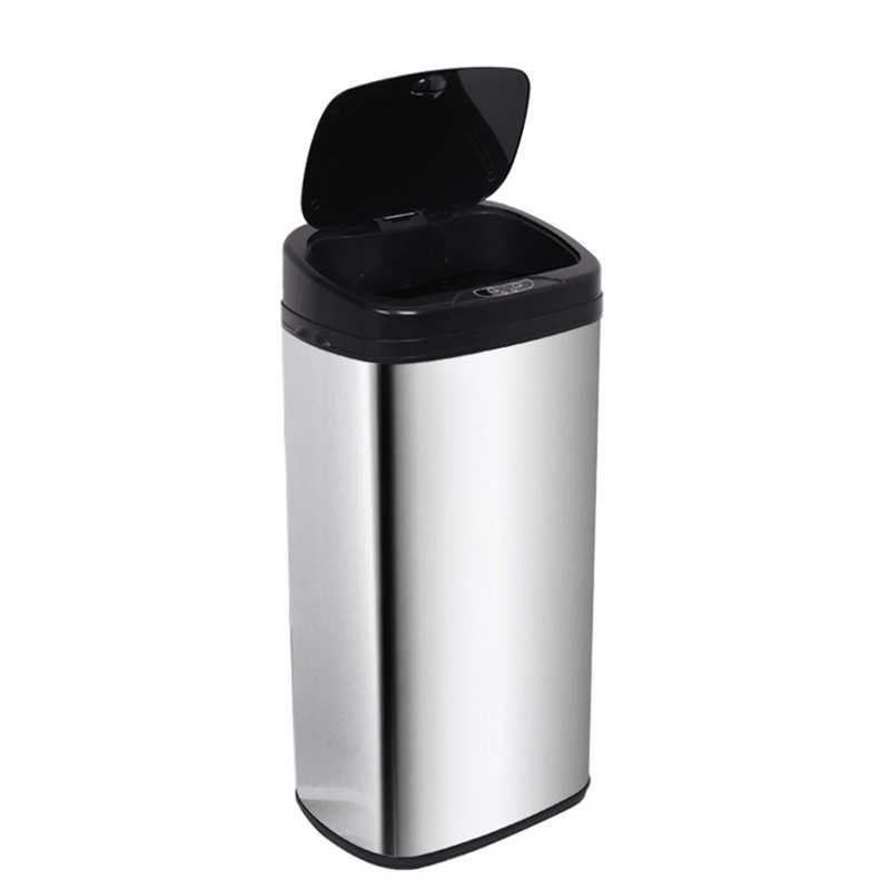null 50L/42L capteur poubelle automatique en acier argent carré capteur déchets poubelle poubelle cuisine
