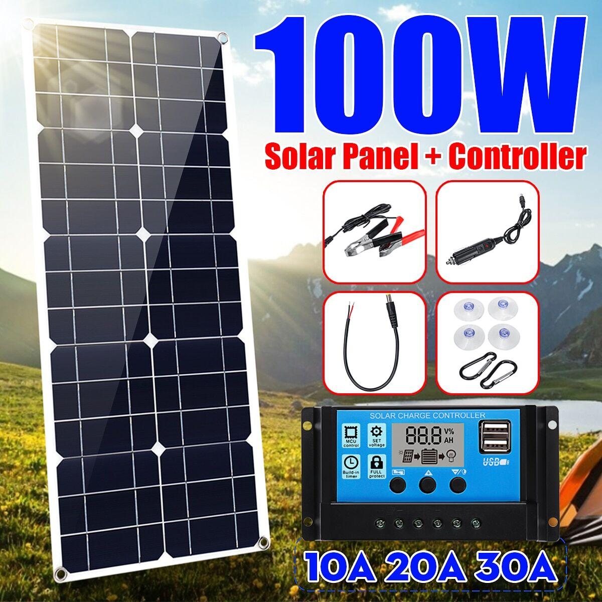 100w Kit de chargeur USB 100W, panneau double 12V/5V DC, avec contrôleur solaire 10A et câbles