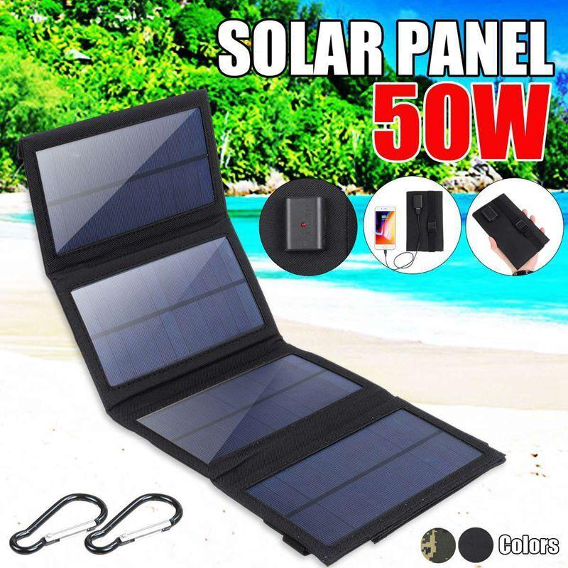 50w portable Panneau solaire Portable pliable 50W, étanche, 5V, chargeur USB, batterie externe pour téléphone
