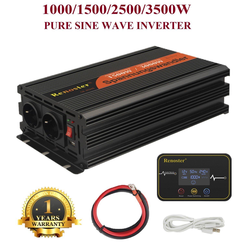 AliExpress Onduleur de puissance à onde sinusoïdale Pure 12V 220v 1000/1500/2500/3500W, convertisseur de crête