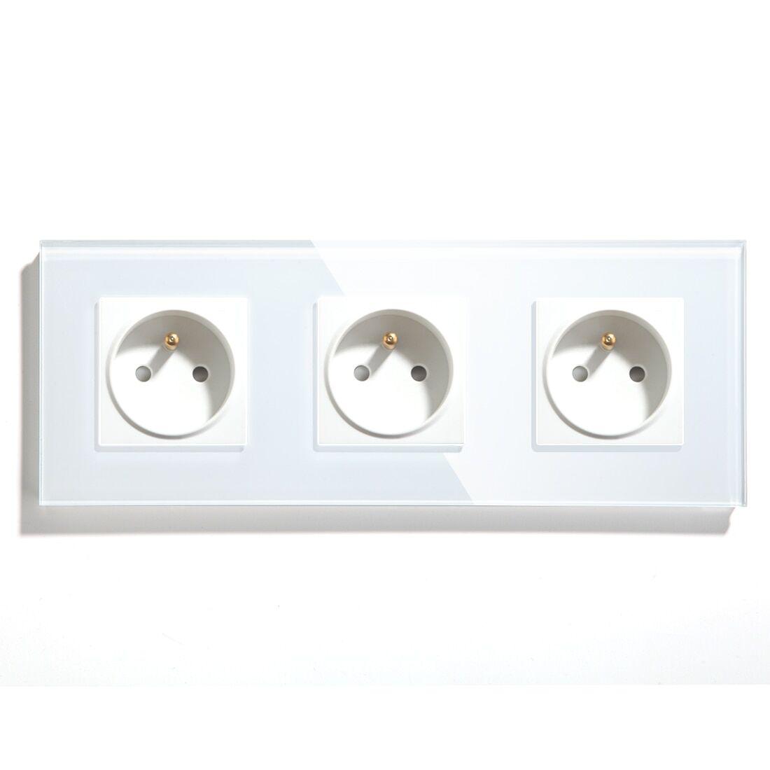AliExpress Bgraine – prise électrique murale Triple Standard France, panneau en verre cristal, 110-240V, blanc,
