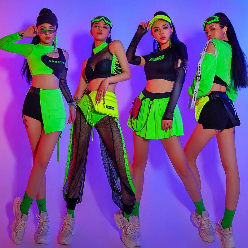 AliExpress Costume de danse de Jazz Gogo pour femmes, vêtements Hip Hop verts pour adultes, tenues de