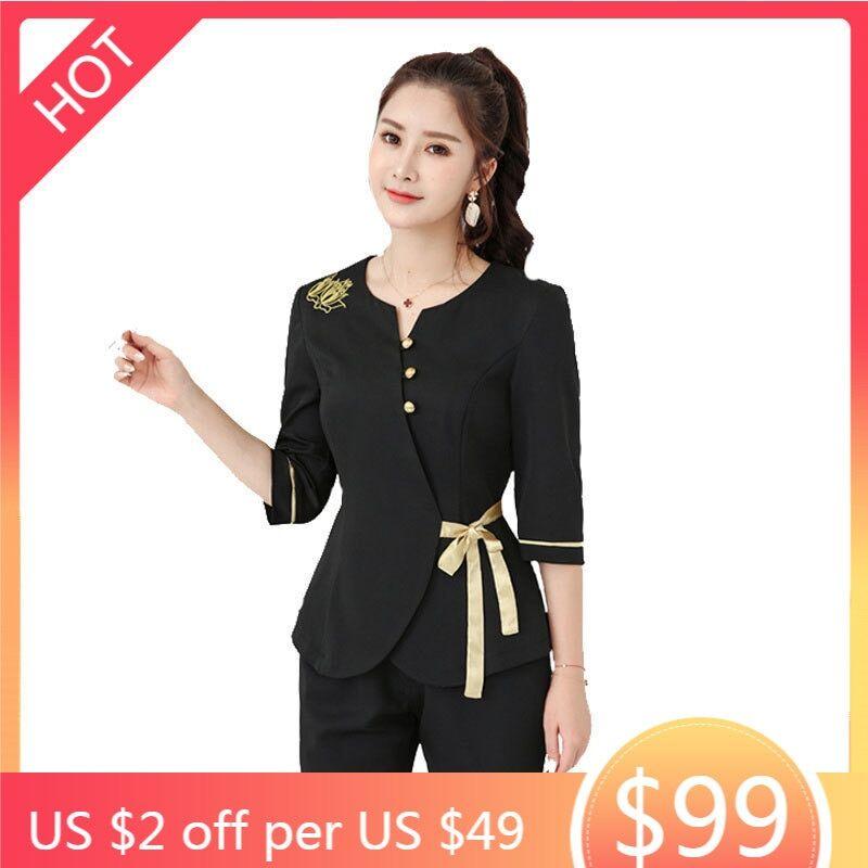AliExpress Vêtements de massage pour femmes, ensembles de 2 pièces noirs, uniformes de bain de pieds de Sauna