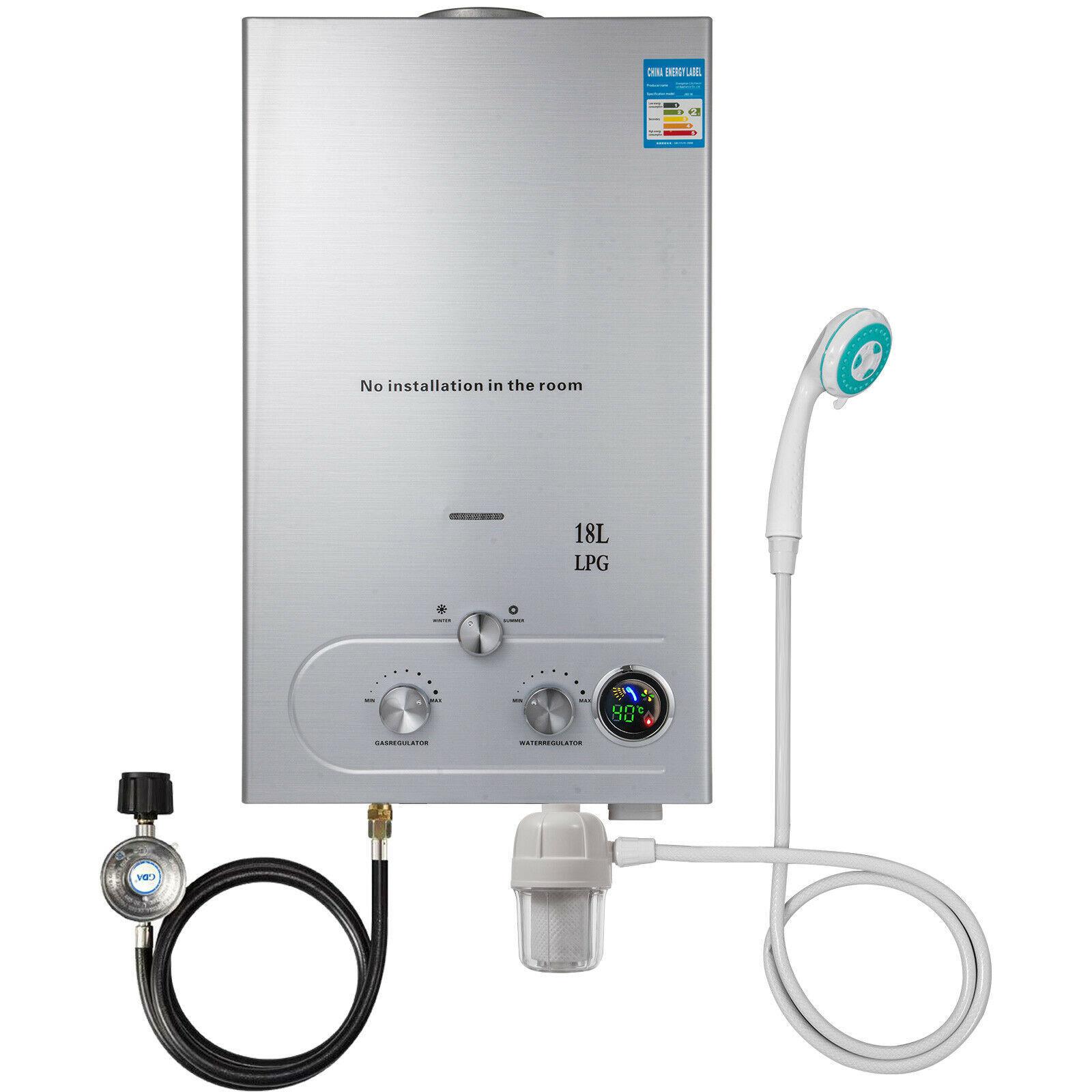 tankless Chauffe-eau 18l au Propane sans réservoir, 4,8 gpm, avec filtre à eau et régulateur de gaz, pour