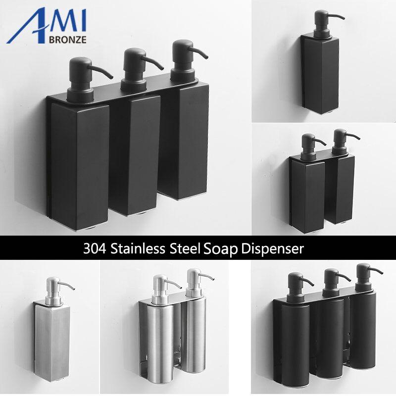 AliExpress Distributeur de savon liquide mural noir, rond/carré, en acier inoxydable 304, pour salle de bains