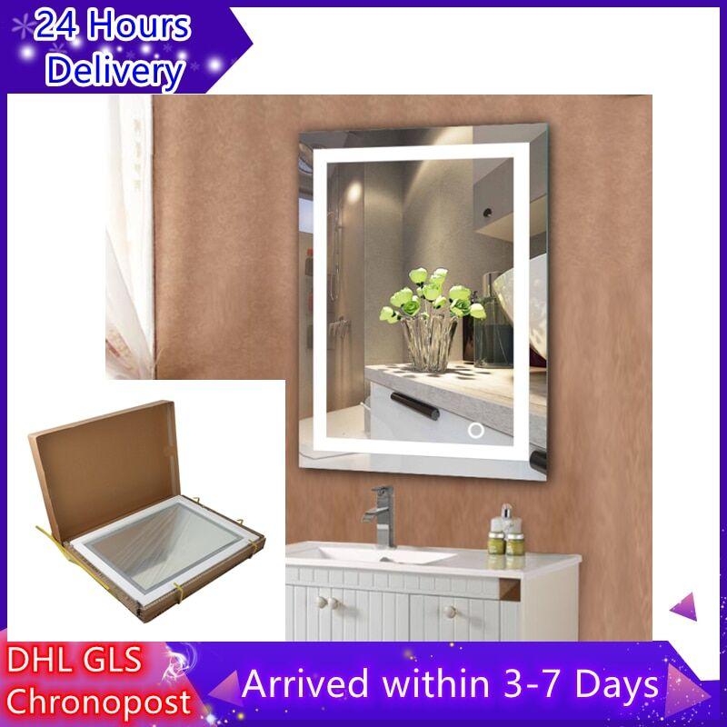 AliExpress Miroir de bain mural blanc froid, nouveau miroir cosmétique, Touchable, éclairé, pour maquillage,