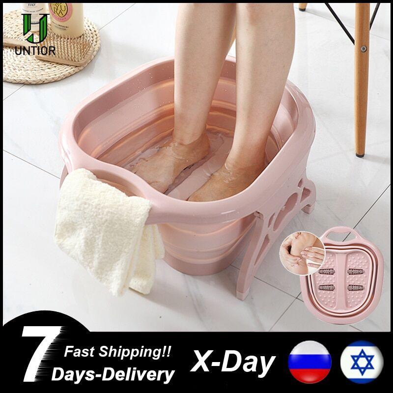 AliExpress Bain de pieds pliable, seau de Massage moussant simple, bassin de bain de pieds en plastique, grand