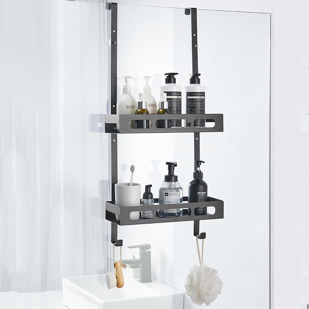 AliExpress tagère de bain suspendue noire à 2 couches, organisateur de salle de bain, porte-shampoing sans