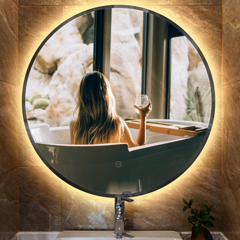 AliExpress Miroir de maquillage rond lumineux, miroir de salle de bains, cosmétique, protection des yeux,