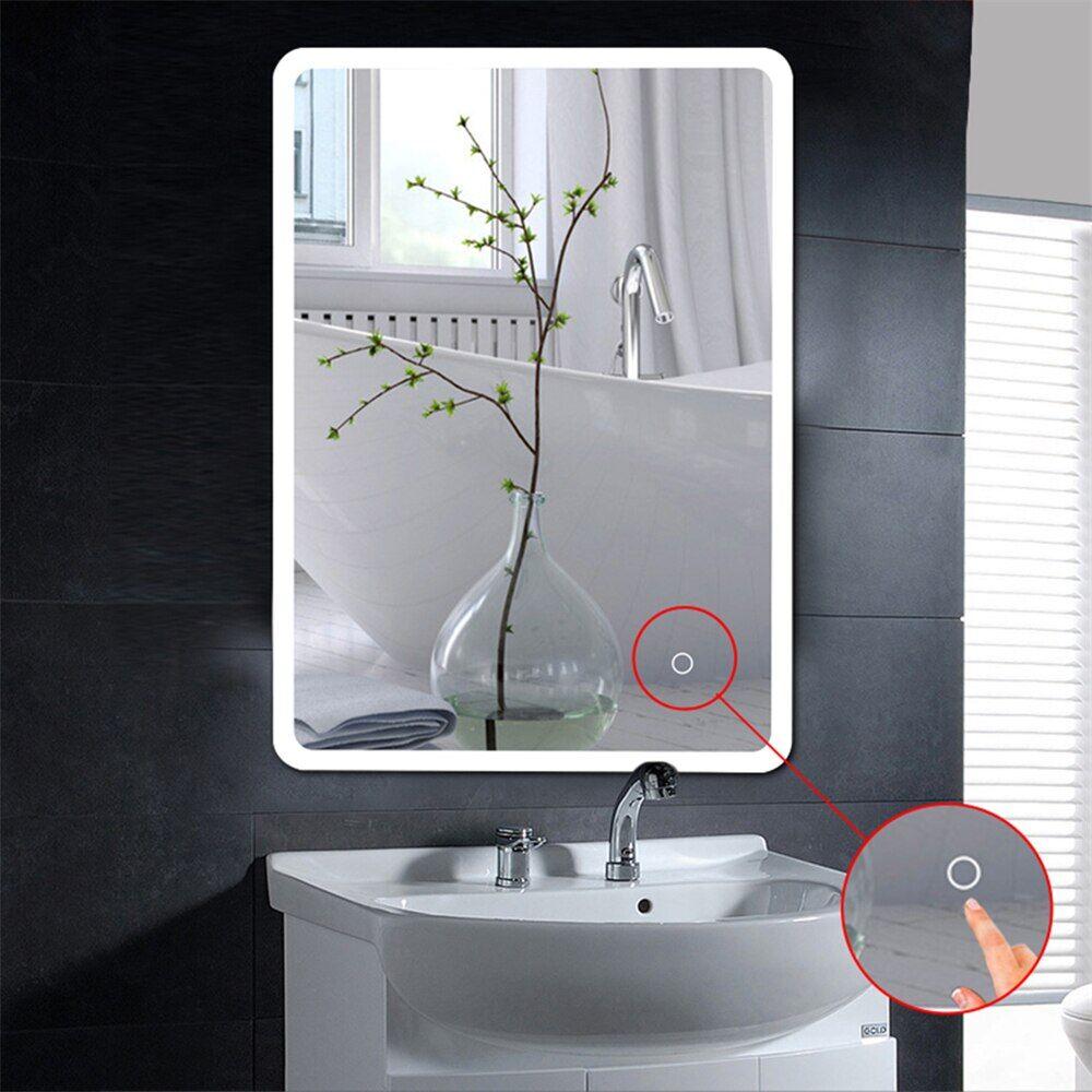 AliExpress Miroir de salle de bain moderne LCD éclairé miroir de maquillage cosmétique tactile sans cadre
