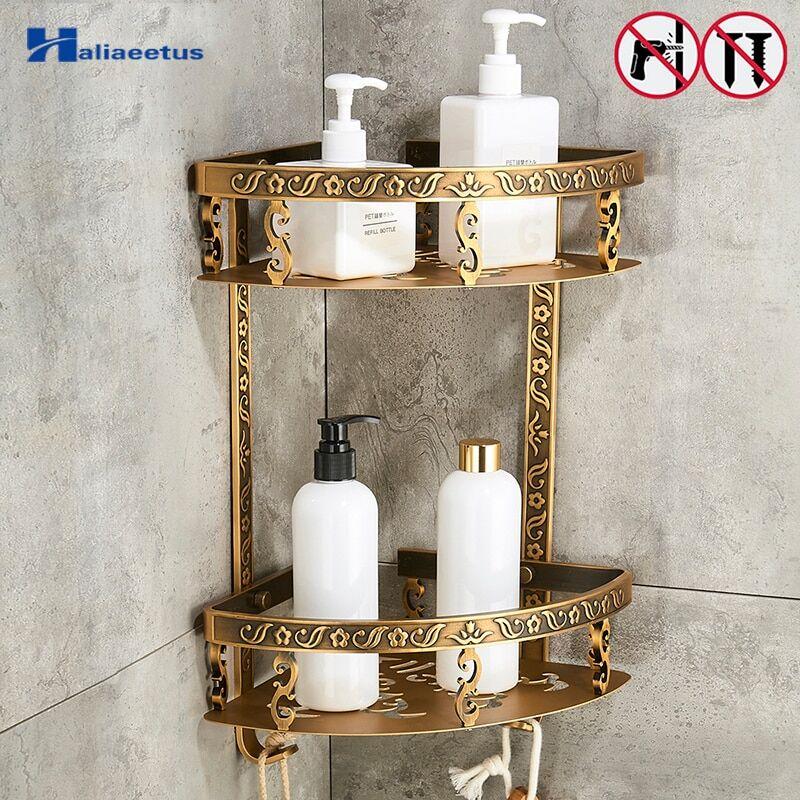 AliExpress tagères de salle de bain à 2 couches, sans clous, en métal Antique, pour coin de douche, rangement