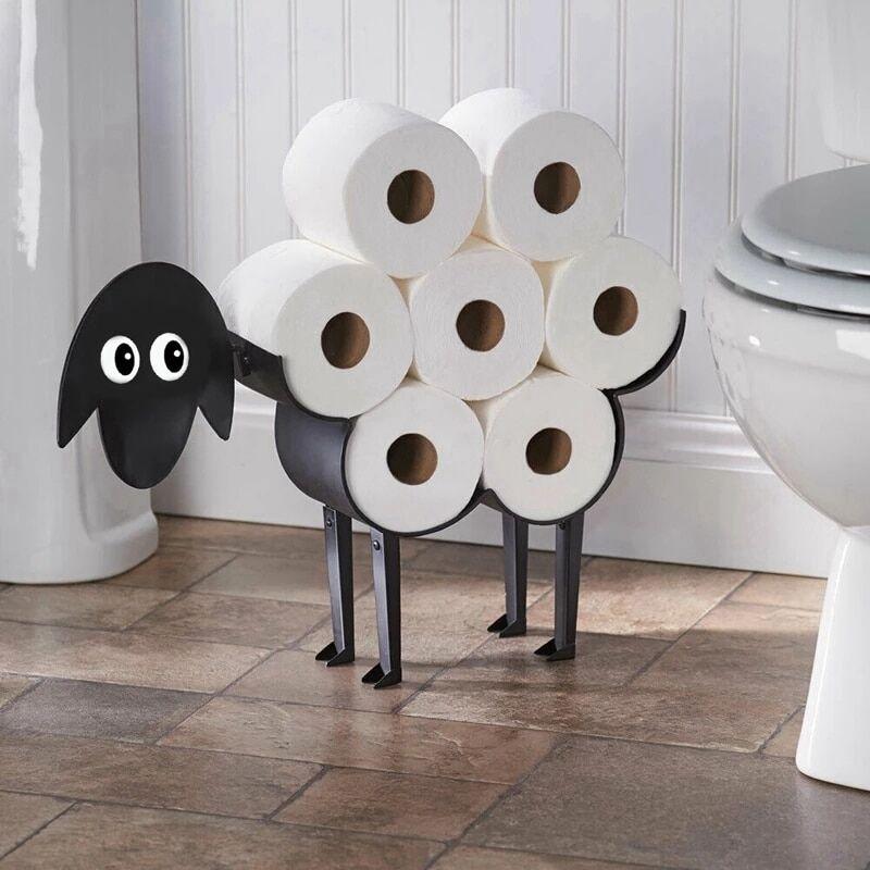 AliExpress Porte-rouleau de papier toilette mouton noir, ornement de salle de bains porte-serviettes en papier