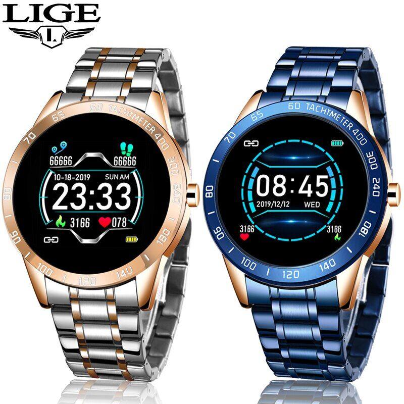 AliExpress LIGE – montre connectée de luxe pour hommes, étanche, moniteur d'activité physique, connexion