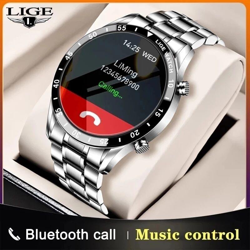 AliExpress LIGE – montre connectée de luxe pour hommes, bracelet en acier, écran tactile, cercle complet,