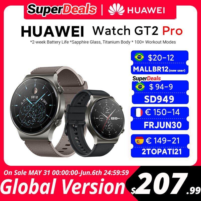 AliExpress CODE: FRJUN30 150-14€ OFF HUAWEI – montre connectée Watch GT 2 pro, Version globale, 14 jours