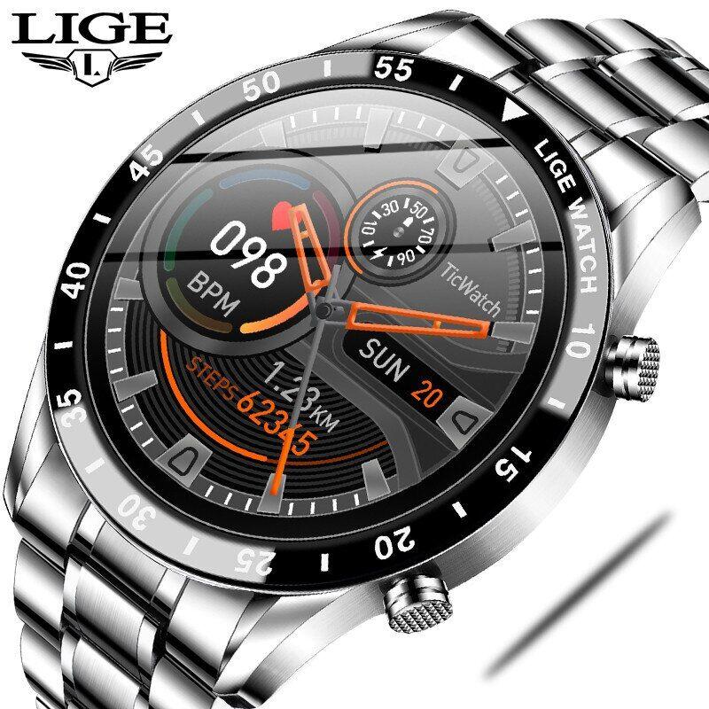 AliExpress LIGE – montre connectée de luxe pour hommes, bracelet en acier, appels Bluetooth, moniteur