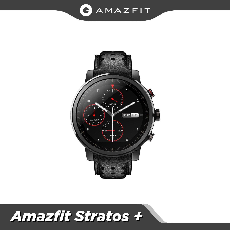 AliExpress Amazfit – montre connectée Stratos +, produit phare, bracelet en cuir véritable, coffret cadeau,