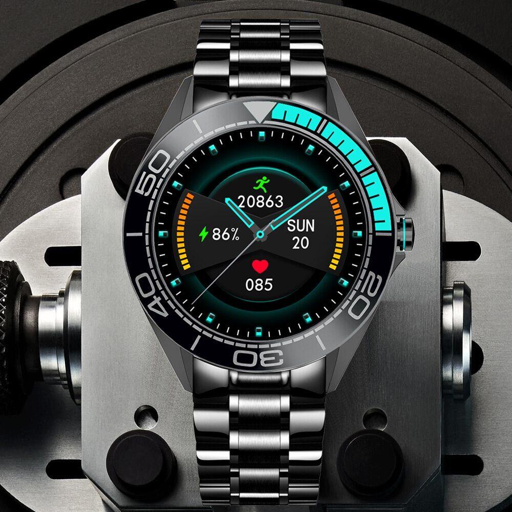 AliExpress LIGE bracelet en acier de luxe montres intelligentes hommes smartwatch IP68 étanche sport Fitness