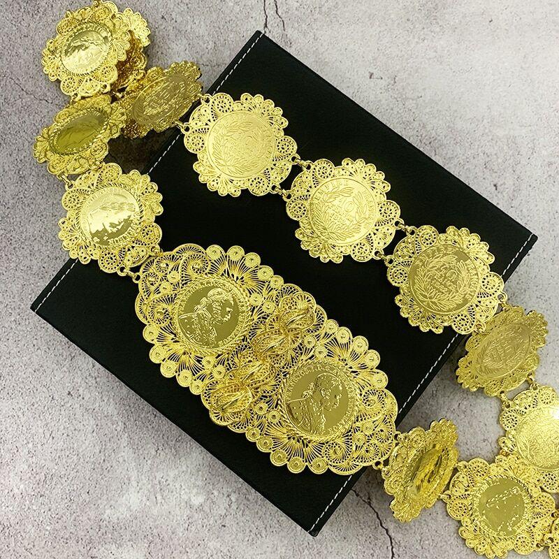 fest Chaîne de taille en métal algérien, ceinture de pièces de monnaie françaises, Design Floral,