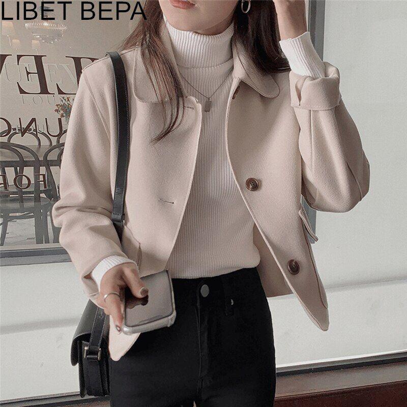 AliExpress Veste avec poches et col rabattu pour femme, vêtements d'extérieur surdimensionnés en laine, boutons