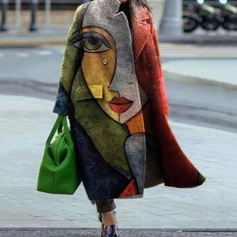 AliExpress Manteau Long en laine mélangée pour femme, manches longues, poches, vert, vêtements d'extérieur,