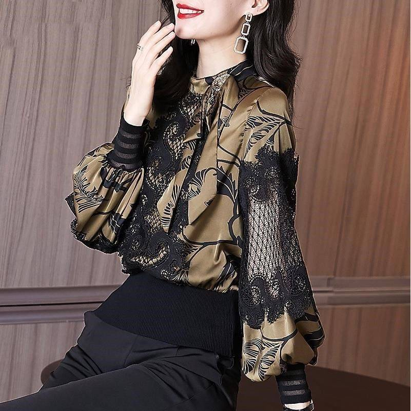 AliExpress Chemise à bascule en dentelle florale pour femme, vêtement français chic, décontracté, Slim,