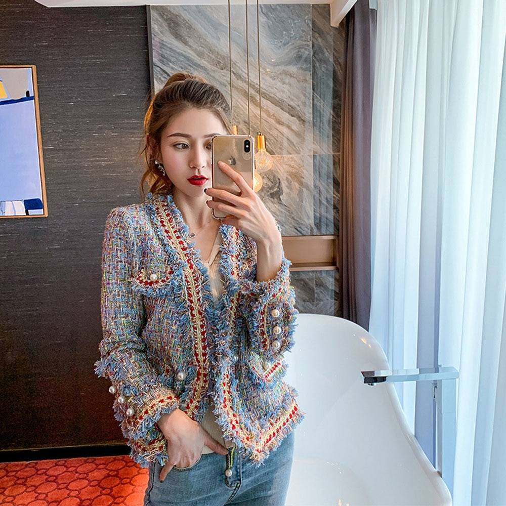 AliExpress Manteau en laine Tweed pour femmes, veste simple, Vintage, vestes courtes à franges, vêtements