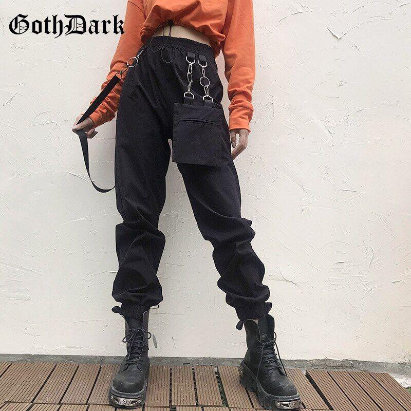 AliExpress Goth Dark – pantalon gothique Harajuku pour femme, Streetwear, Vintage, poches avec anneaux en