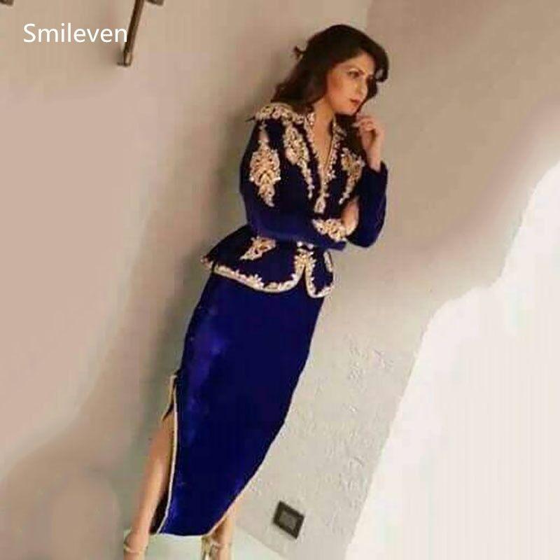 AliExpress Smileven – robe de soirée en velours bleu Royal, Caftan algérien, manches longues, 3 pièces,