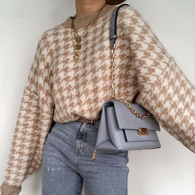 AliExpress Pull pied-de-poule tricoté pour femme, vêtement chaud, doux, Slim, style rétro, collection automne