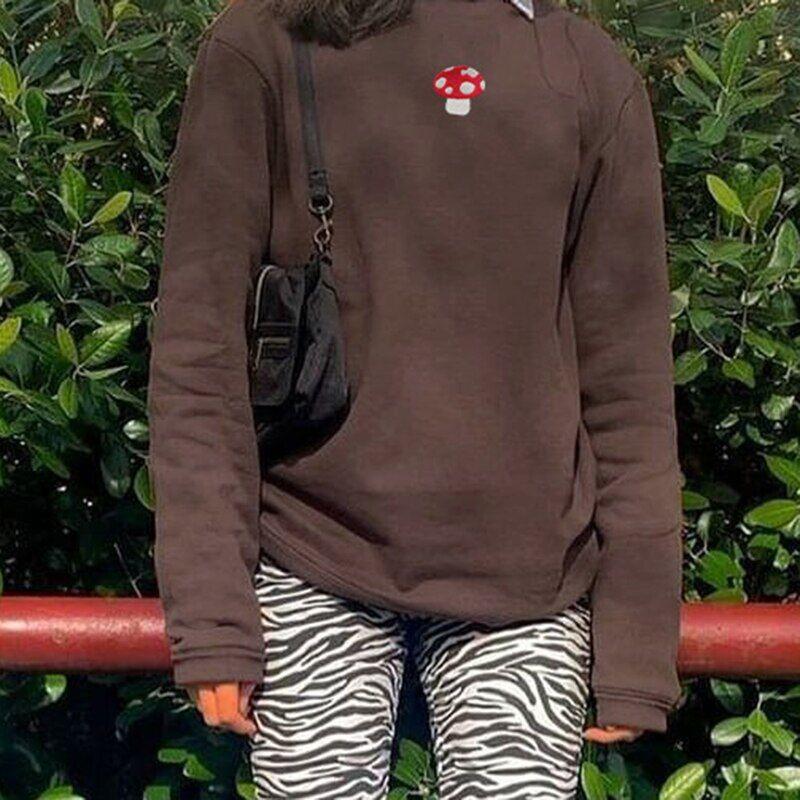 AliExpress Sweat-shirt surdimensionné brodé de champignons pour femme, col rond, manches longues, vêtement