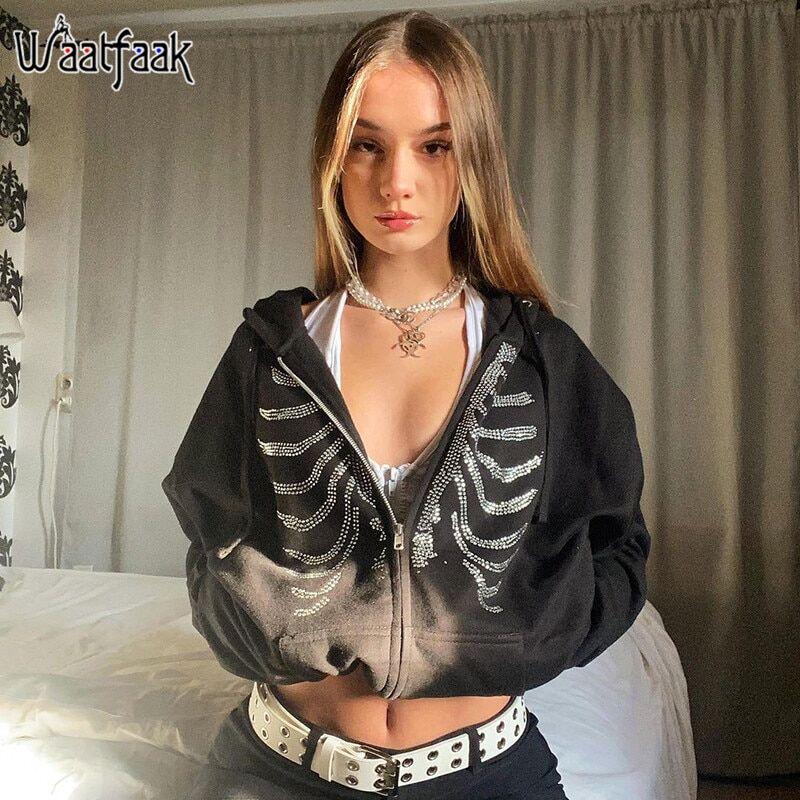 AliExpress Waatfaak – sweat à capuche avec strass, Streetwear, squelette Grunge Goth, noir, Hippie, fermeture
