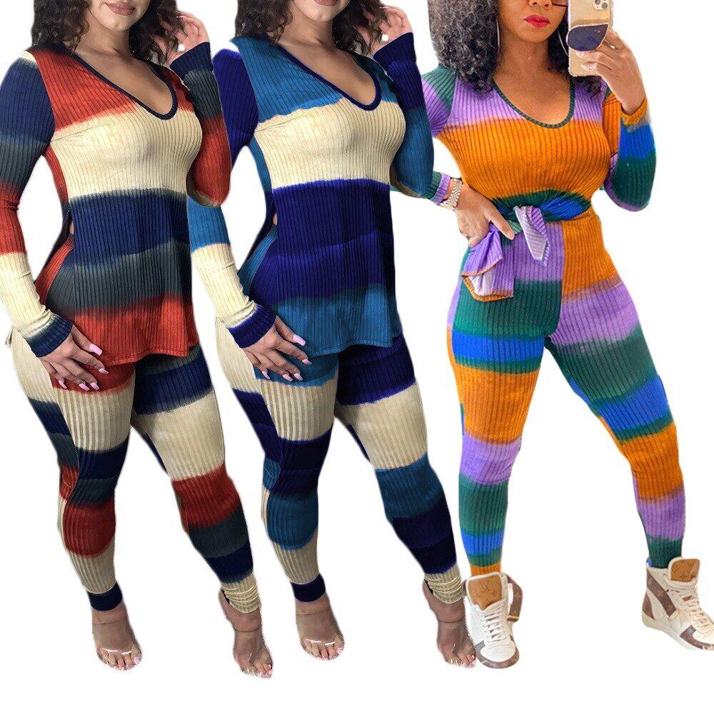 AliExpress Ensemble deux pièces d'automne pour femmes, vêtements actifs, rayé épais, côtelé, manches longues,