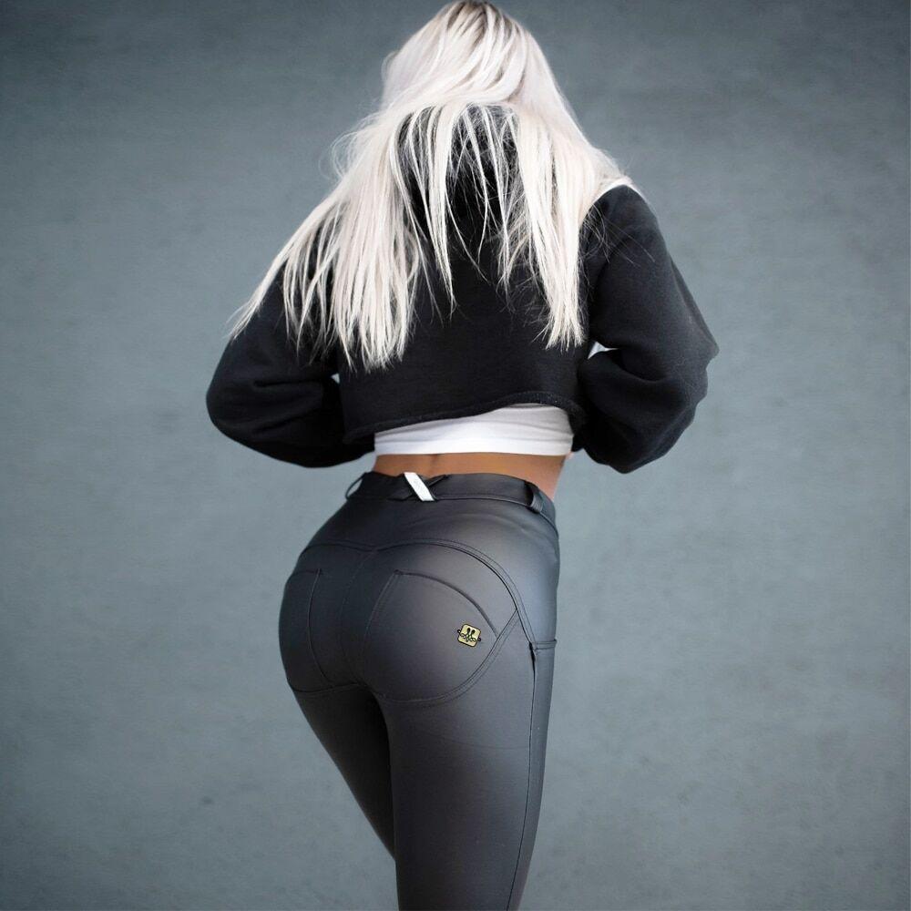 AliExpress Melody – Leggings de Sport en cuir Pu noir mat pour femmes, pantalon de Fitness gothique, Push-Up